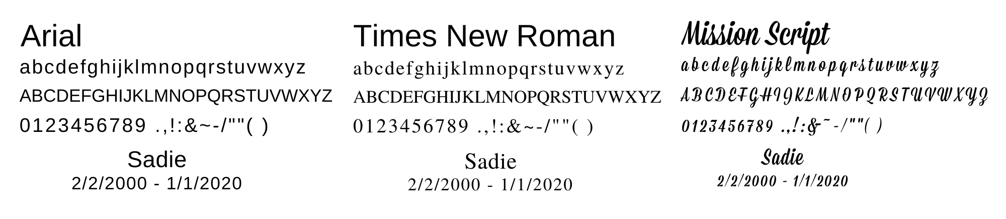 Nameplate Engraving Fonts