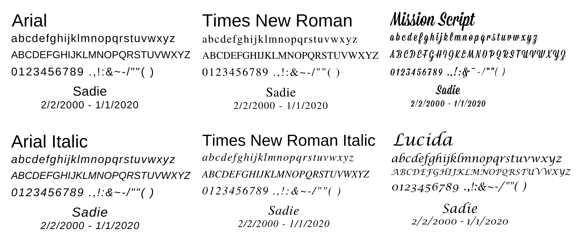 CULTURED MARBLE FONT CHOICES