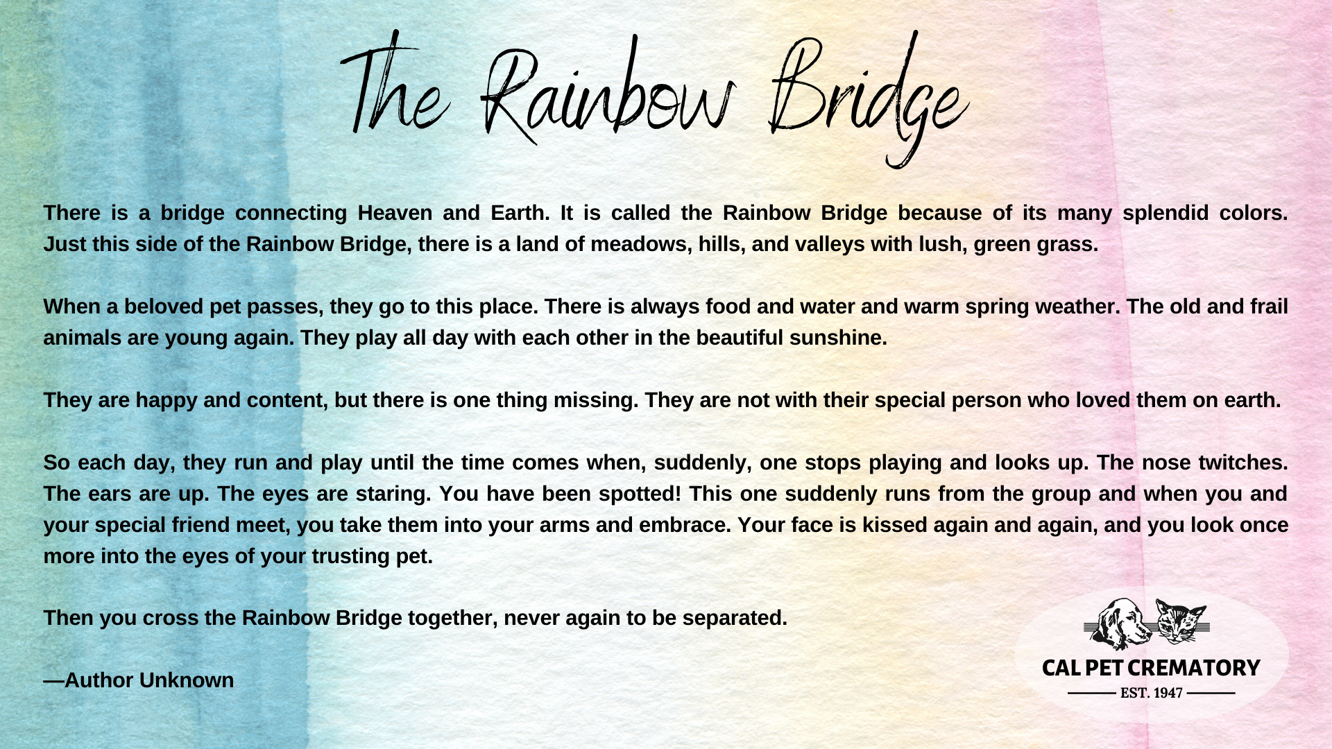 The Rainbow bridge poem