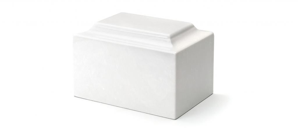 WHITE CULTURED MARBLE PET URN